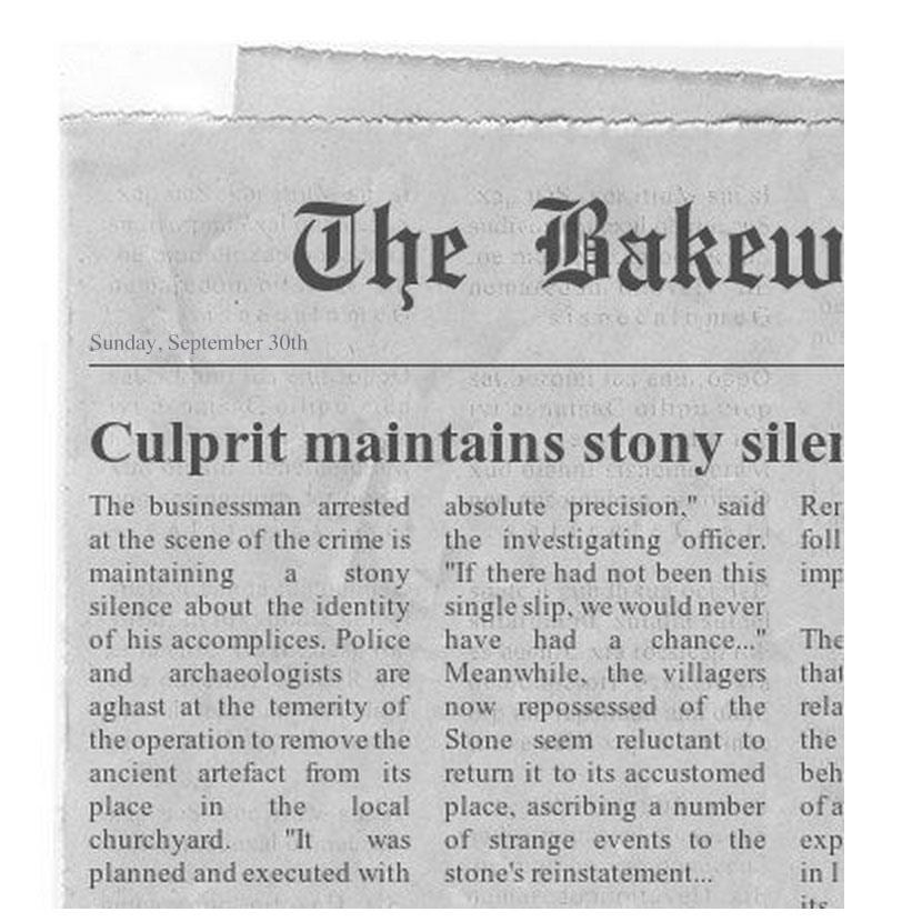Bakewell Jail newspaper 1