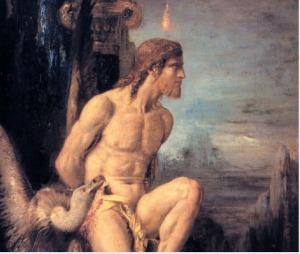 Prometheus gold statue